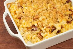 Bacon-Onion Macaroni and Cheese: Bits of crispy bacon and sweet caramelized onions combine with Gruyere and fontina cheeses to make an incredibly satisfying baked macaroni and cheese.
