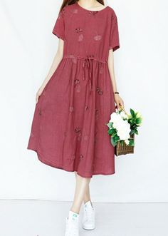 Women loose fitting over plus size embroidered flower dress long pocket tunic #Unbranded #dress #Casual