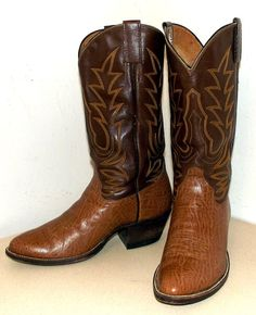 Two tone Brown Cowtown Cowboy Boots size 85 by honeyblossomstudio, $49.99