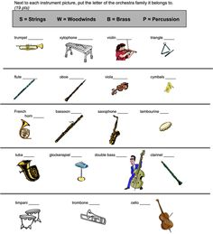 Beth's Music Notes: ideas for teaching instruments and instrument families, as well as worksheet ideas! Music Lesson Plans, Music Lessons, Music Worksheets, Primary Music, Music Activities, Music For Kids, Elementary Music, Music Classroom, Music Theory