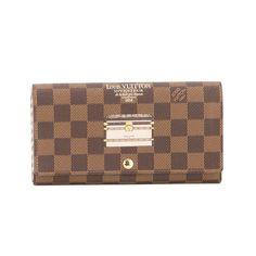 d481842c6af9 Louis Vuitton Damier Ebene Portefeuille 2 Fold Sarah Wallet (Pre Owned)