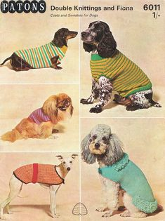Items similar to Vintage Knitting Pattern. Patons 6011 Four Dog Sweaters Coats to make on Etsy Dog Coats And Sweaters, Knitting Patterns For Dogs, Coat Patterns, Pet Dogs, Dog Cat, Dog Jumpers, Vintage Dog, Vintage Knitting, Pet Clothes