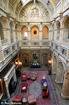 Grand interior hall of Downton Abbey, floor leading to the private rooms. Highclere Castle.