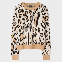 Paul Smith Women's 'Leopard' Intarsia Wool-Blend Sweater ($320) ❤ liked on Polyvore featuring tops, sweaters, ps paul smith, tan sweater, leopard sweater, collar top and collared sweater