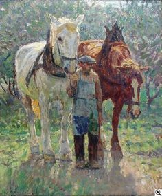 Julius Paul Junghanns: Jungbauer mit zwei Pferden aus unserer Rubrik: Gemälde des 19. Jahrhunderts