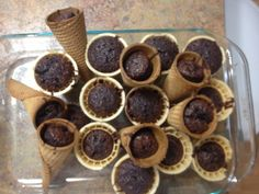 Baked brownie mix in regular cones and waffle cones