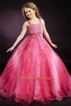 Little Girl Pageant Dresses,Locely ball gown strap floor-length  little girl dress 1346