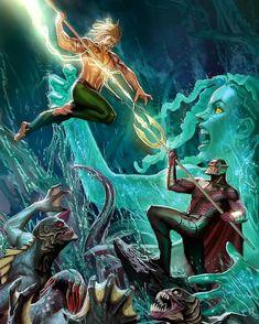 Aquaman vs Ocean Master and the Trench Art by Stjepan Sejic Marvel Dc Comics, Dc Comics Art, Aquaman Dc Comics, Dragon Comic, Univers Dc, Come Undone, Dc Characters, Comics Universe, Detective Comics