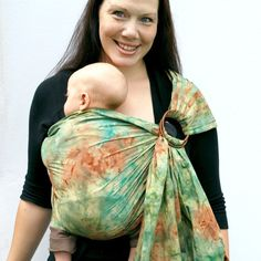 51804073ed0 RESERVED - Baby Ring Sling Carrier Earthy Green Batik extra Superwide -  Made to Order