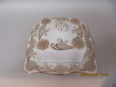 Queen Anne China Square Covered Butter Dish --- Pinwheel