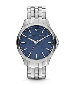 AX Armani Exchange Mens Smart Blue Dial with Genuine Diamond Watch #Dillards