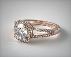 50172 engagement rings, halo, 14k rose gold cushion halo split shank diamond engagement ring item - Mobile
