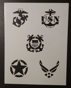 """Military Army Air Force Navy Marines Coast Guard 8.5x11"""" Stencil FREE SHIPPING #Unbranded Military Crafts, Military Art, Free Stencils, Custom Stencils, Scroll Saw Patterns, Wood Patterns, Soldier Silhouette, Glass Etching Stencils, Etched Mirror"""