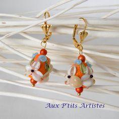 """boucles d'oreilles, perle au chalumeau """"Botanique 25"""" de la boutique AuxPetitsArtistes2 sur Etsy"""