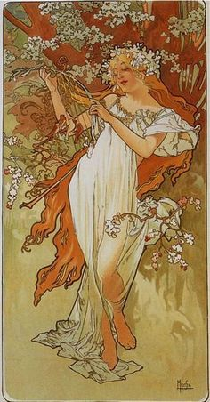 The Seasons, Spring by Alfons Mucha, 1896