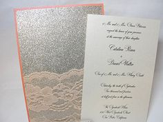 glitter and lace wedding invitations