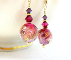Purple Pink Gold Earrings Murano Earrings by GlassRiverJewelry