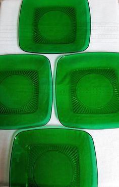 Forest Green Charm Luncheon Plates by Anchor Hocking - Set of 4 Vintage 1950's Green Square Glass Plates - Mid Century Dinnerware by ClassyVintageGlass on Etsy