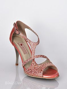 Ladies Tango Shoe Color: Red jewel with mosaic pattern