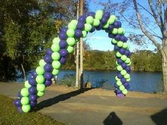 Outdoor balloon arch for a walk- a -thon