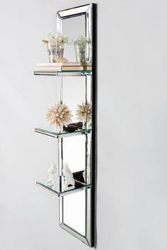 "Materials: wood, glass Measurements: 50"" h x 12""w x 7""d, 34 pounds Between shelves height: 11"""