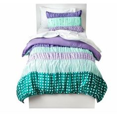circo Circo Full Bed in a Bag Purple & Blue Ruched Comforter Set Sheets Shams 7 pc