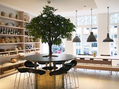 i know this is a restaurant ...but i totally want to put a table around a tree in my house - how cute is that - would be so cute with lights on it!!  London Restaurants | Everywhere - DailyCandy