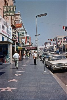"August 1963, Hollywood Boulevard. On ""The Walk of Fame."""