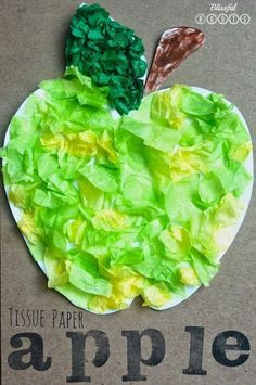 Tissue Paper Apple Art Project For Kids @ Blissful Roots (fall crafts for kids fine motor skills) Apple Art Projects, Fall Art Projects, Projects For Kids, Preschool Art Projects, September Art, September Crafts, September Preschool, Fall Crafts For Kids, Kids Crafts