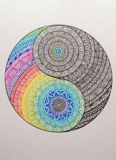 Original A4 Yin Yang Mandala par madebymelw sur Etsy
