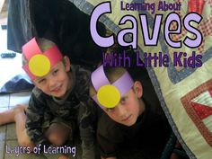 Caves for little kids: instructions on how to introduce this topic, make caver helmets, and create cave art.