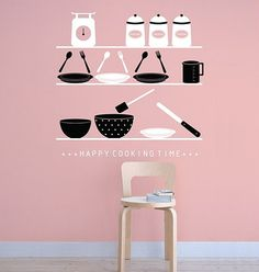 Happy Cooking Time Lovely Kitchenwares Color EH DIY by WallSpurArt, $38.99