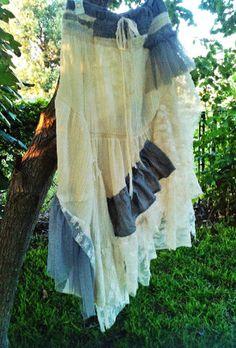 lace & ruffles Mori Girl Skirt Woodland BoHo skirt by JenaDelFey, $35.00