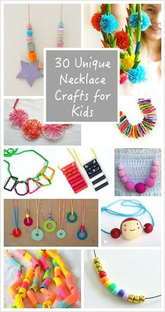 Over 30 Unique Necklace Crafts for Kids: DIY jewelry made with pom poms, dried pasta, beads, washers, and more! diy jewelry unique 30 Unique Necklace Crafts for Kids Craft Activities For Kids, Crafts For Teens, Projects For Kids, Diy For Kids, Craft Projects, Kids Crafts, Craft Ideas, 31 Ideas, Summer Crafts