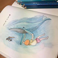 Tango with the 🐋. Thinking of making the same in watercolors 😉 Day 185 #365 #illustration #illustrator #illustrationart #childrenillustration #childrensbooks #childrenstorybook #drawingeveryday #drawing #colorpencils #fabercastelpolychromos #bluesea #whale #whaleinocean #thegirlthefoxandtwobears #thegirlthebearandthefox #dancing #tango