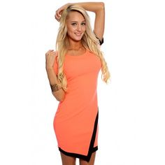 Casual Cute Neon Coral Short Sleeve Two Tone Party Dress ($13) ❤ liked on Polyvore featuring dresses, sexy prom dresses, neon dress, neon coral dress, short sleeve coral dress and short sleeve prom dresses