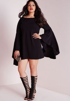 79ba706885e Plus Size Flared Sleeve Swing Dress Black Party Dresses