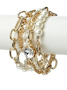 Bijou Gold Multi Chain Pearl and Crystal Bracelet 44