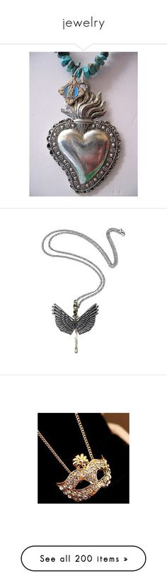 """jewelry"" by hismommy16 ❤ liked on Polyvore featuring jewelry, necklaces, silver necklace, key pendant necklace, silver wing necklace, key necklace, silver chain necklace, gold, gold charms and party necklaces"