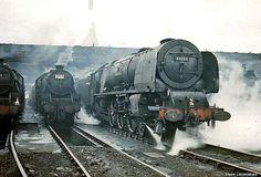 "LMS Princess Coronation Steam Train : No . 46220 "" Coronation "" : Crewe North : Cheshire : England : 17 / 06 / 61 : By Tony Gillett : Steam Trains Uk, Old Steam Train, Train Car, Train Tracks, Heritage Railway, Diesel, Steam Railway, British Rail, Old Trains"
