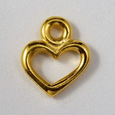 4.5mm x 8.25mm Antique Gold Tierracast Pewter Open Heart Charm