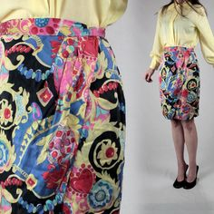 A personal favorite from my Etsy shop https://www.etsy.com/listing/289851521/vintage-silk-skirt-80s-skirt-smallfloral