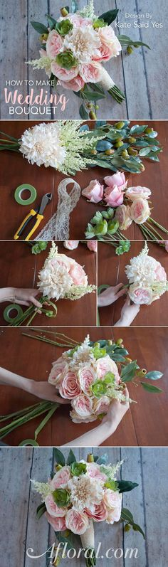 How to make a wedding bouquet with silk florees from www.afloral.com/. #fauxflowers Design by Kate Said Yes