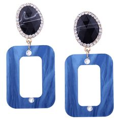 Resin Rhinestone Oval Geometric Earrings Cerulean ($3.35) ❤ liked on Polyvore featuring jewelry, earrings, zaful, earring jewelry, resin jewelry, oval earrings, geometric jewelry and rhinestone stud earrings