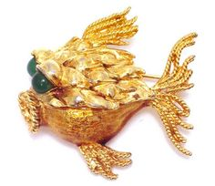 Vtg Brooch Hattie Carnegie Gold Fish