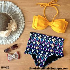 Vintage Retro High Waist Swimsuit Yellow Top Purple/Blue/White Geometric Bottom