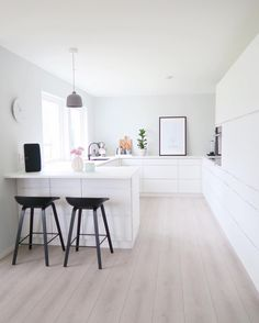 Simple minimal modern white kitchen