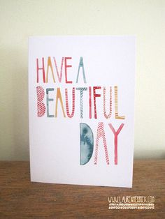 Beautiful Day Card watercolour typography