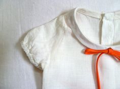 White Linen Peter Pan Collar Blouse by harriet & daughters