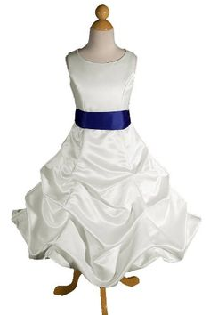 $129.99 Baby This Princess Dress is perfect for a Wedding as a Flower Girl Dress, Pageant Holiday Dress, Easter Dress, Recital, Formal Event, and a Special Dress for her birthday Party or Heavenly keepsake pictures. The entire dress is made out of high quality ivory satin. The waistline has a royal blue satin sash to make this dress more elegant. The skirt has two layers, the inside layer is sat ...